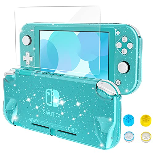 HEYSTOP Case Compatible with Nintendo Switch Lite, with Tempered Glass Screen Protector and 4 Thumb Grip, Front and Back, All-Round Protective case (Turquoise)