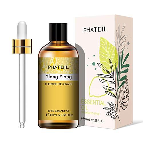 PHATOIL Aceites Esenciale de Ylang Ylang 100 ml, 100% Naturales Puros, Aceite Esencial de Aromaterapia de Grado Terapéutico, Aceite Esenciales para Humidificador, Difusor, Regalos Perfectos