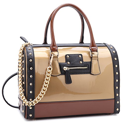 Shiny Patent Faux Leather Handbags Barrel Top Handle Satchel Bag Shoulder Bag for Women (7370 large size gold)