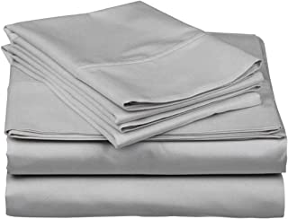 ARlinen 5 Piece Sheets Set,Split-King Size Light Grey Solid 10 Inch Deep/Drop Fitted Sheet 400 TC 5 PCs Bedding Sets.