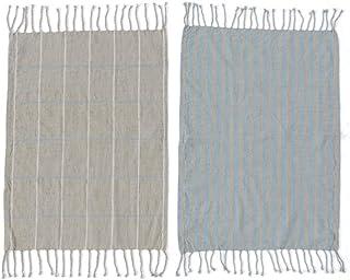 OYOY Gobi Tehandduk - 2 st/pack turmalin/grå 50 x 70 cm