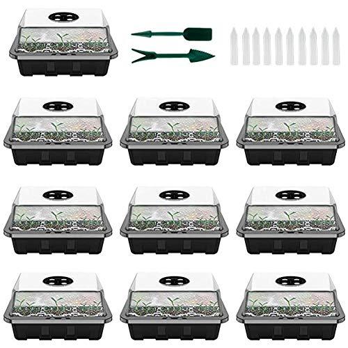Queta 10Pcs Bac à Semis Plateau Semis Transparente en Plastique,12 Trous Plateau de Semis Hydratant et Préservant Chaleur, Mini Serre pour Semis avec Couvercle et Ventilation Durables (Noir)