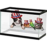 Fish Tank Backdrop Poster Fourth of July,Cute Pet Animal Dog Cat Bird and Hamster with American Hat Celebration Image, Multicolor Photography Background