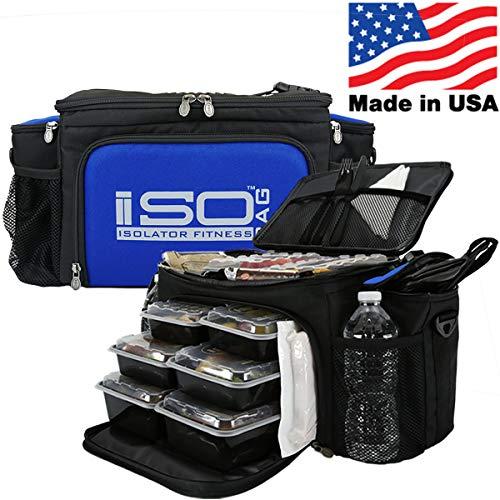 Isolator Fitness 2. Generation Isobag 6 Mahlzeiten Management System/Blauer Akzent/Schwarz/Isolierte Mahlzeiten-Kühltasche