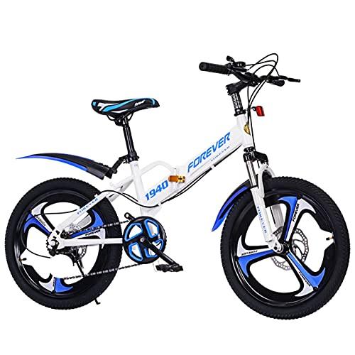 Axdwfd Infantiles Bicicletas Bicicleta para niños de 18 a 20 Pulgadas, Adecuado para niños de 7 a 14 años, Bicicleta Plegable, Rojo, Amarillo, Azul (Color : Blue, Size : 20in)