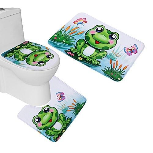 Cute Frog Flannel Bathroom Mat Set