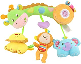 Baby Music Baby Rattle Plush Teether Baby Carriage Hanging Bell Toy Doll Baby Crib Hanging Animal Comfort Doll