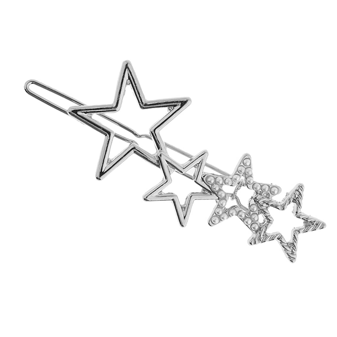博覧会半球同意FLAMEER ヘアクリップ バレッタ スターデザイン 女の子 人工真珠 パーティー ヘアアクセサリー 全2色 - 銀