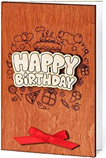 Happy Birthday Real Wood Handmade Greeting Card Inside Bouquet of Red Roses Unique Original Bday Jubilee Anniversary Wooden Gift for Children Men Women Him Her Man Woman Business Partner or Relative E