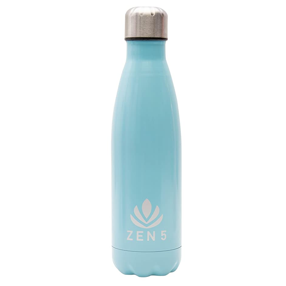 Zen 5 Vacuum-Insulated Stainless Steel Double Wall BPA Free Water Bottle, Reusable 17 oz – Keeps Drinks HOT or Cold for 24 Hours