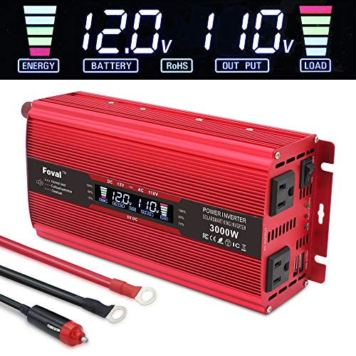 Yinleader Power Inverter 1500W/3000W(Peak) DC 12V to 110V AC Converter with Intelligent LCD Display Dual AC Outlets Dual USB Charger for for RV Caravan Truck Laptop(Red)