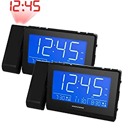 Magnasonic Alarm Clock Radio with Time Projection, Auto Dimming, Battery Backup, Dual Gradual Wake Alarm, Auto Time Set, Large 4.8 LED Display, AM/FM (CR62) - 2 Pack
