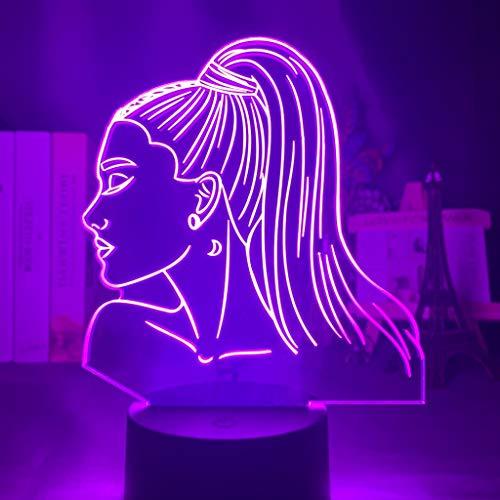 3d Night Light Cantante Ariana Grande Regalo per i fan Arredamento camera da letto Luce Led Sensore tattile Lampada da scrivania Cambia colore Celebrity