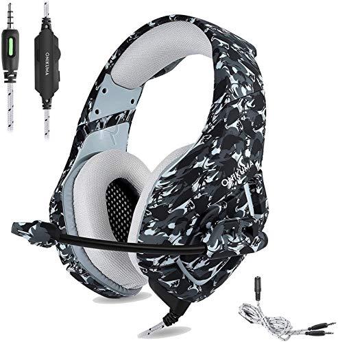 XXT PS4 Gaming Headset 3.5mm Stereo Camouflage Gaming Auriculares con micrófono con cancelación de ruido para Xbox One S PC PS4 Smartphones Ordenador portátil (gris)