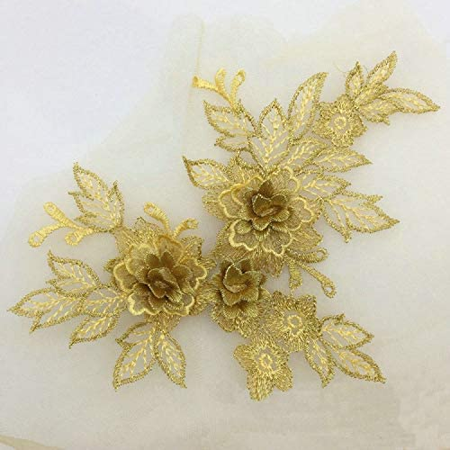 2 Pcs Colored Selling and selling 3D Kansas City Mall Flower Applique Trim Embroidered Lace Material