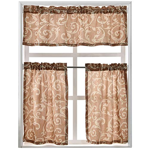 NAPEARL Kitchen Curtains and Valances Set, Jacquard 3 Piece Set Valance and Tiers 36 Inch Length, Rod Pocket Small Kitchen Curtains for Cafe, Bathroom