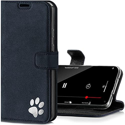 SURAZO Handyhülle für OnePlus 8 Pro – Premium Echtleder Hülle mit Pfote Motiv – Wildleder Klapphülle mit Standfunktion, Kartenfach & Schlüsselring - RFID Schutzhülle Handmade in Europe (Marineblau)