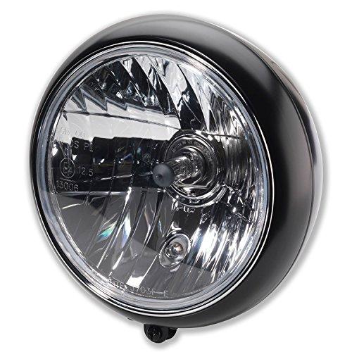 """7\"""" Zoll Motorrad Haupt Scheinwerfer Classic British Style H4 Frontscheinwerfer mit Halter unten E-Geprüft schwarz"""
