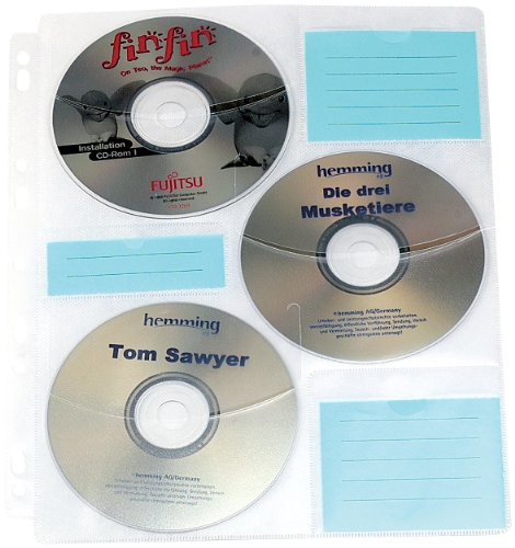 General Office CD Hüllen zum Abheften: CD/DVD Ringbucheinlagen 2 x 3 für 60 CD/DVD (CD Hüllen für Ordner)