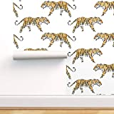 Spoonflower Peel and Stick Removable Wallpaper, Tiger Wildcat Zoo Stripe Orange Print, Self-Adhesive Wallpaper 12in x 24in Test Swatch