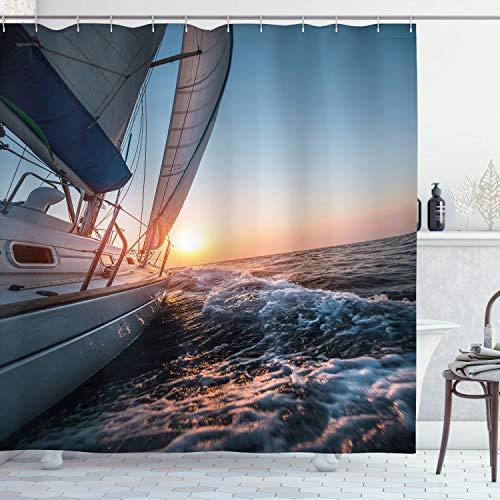 ABAKUHAUS Nautisch Duschvorhang, Segelboot auf Meer Hobby, Wasser Blickdicht inkl.12 Ringe Langhaltig Bakterie & Schimmel Resistent, 175 x 200 cm, Hellblau Gelb