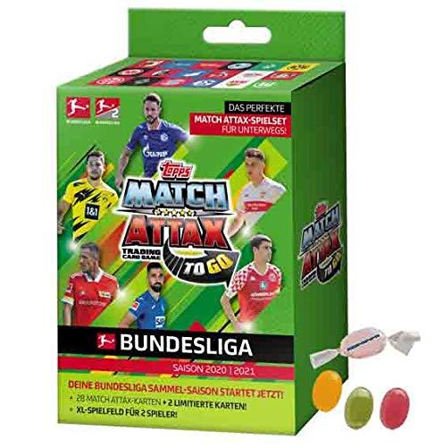 Topps Match Attax Bundesliga 2020/2021-1x to Go Box je 28 Cards + 2 X LE Cards zusätzlich 1 x Sticker-und-co Fruchtmix Bonbon