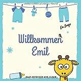 Willkommen Emil Baby Fotobuch und Album: Personalisiertes Babybuch und Babyalbum, Das erste Jahr, Geschenk zur Schwangerschaft und Geburt, Baby Name auf dem Cover