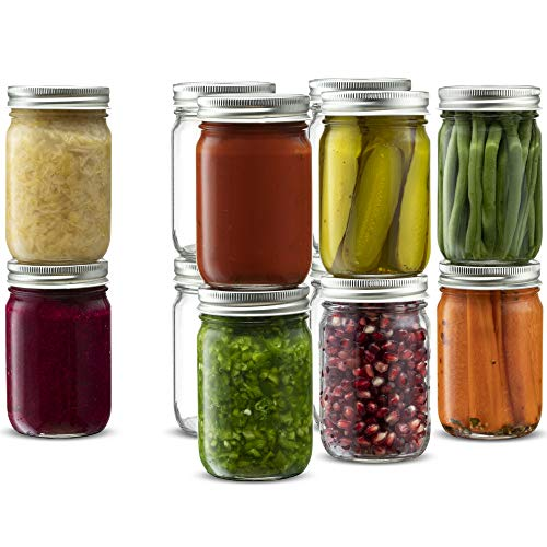 Glass Regular Mouth Mason Jars, 12 Ounce Glass Jars with Silver Metal Airtight Lids for Meal Prep, Food Storage, Canning, Drinking, Overnight Oats, Jelly, Dry Food, Spices, Salads, Yogurt (12 Pack)