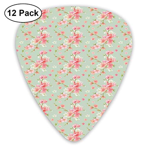 Guitar Picks12pcs Plectrum (0.46mm-0.96mm), Retro Spring Blossom Flowers With French Garden Florets Garland Artisan Image,For Your Guitar or Ukulele