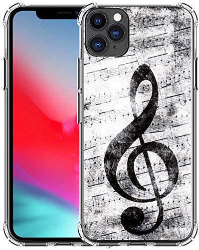 Case for iPhone 12 Pro Max & MUQR Gel Silicone Slim Drop Proof Heavy Duty Protection Cover Compatible for iPhone 12 Pro Max & Music Note Vintage Design Pattern