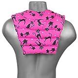 Saco térmico de semillas - Cojín para el cuello con parte dorsale - Cojín cervical caliente para la espalda - Almohada térmica - Semillas de lino (color: gato negro fondo fucsia)
