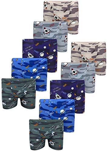 LOREZA ® 10 Jungen Boxershorts aus Baumwolle (140-146 (10-11 Jahre), Camouflage Space-10er Set)
