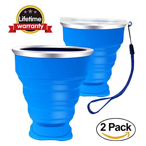 Silikon Falten Tasse Becher Faltbar Klappbar Ungiftig Silikon:BPA-frei tragbare Kaffee Tasse für Wandern Camping Outdoor Sport, 200 ml- Blau 2 Stück