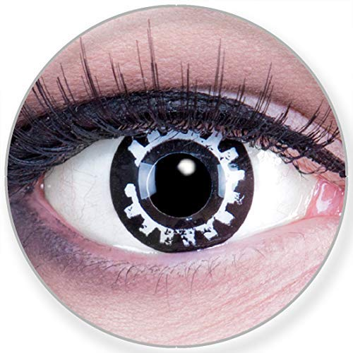 Funnylens Farbige Kontaktlinsen Steam Punk weiss schwarz - weich ohne Stärke 2er Pack + gratis Behälter – 12 Monatslinsen - perfekt zu Halloween Karneval Fasching oder Fasnacht