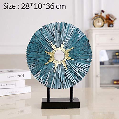 ZFLL Boeddha Moderne Ronde Plaat Beeldje Voor Home Decoratie Accessoires TV Kast Decoratie Ornament Hars Ambachten Woonkamer Decor