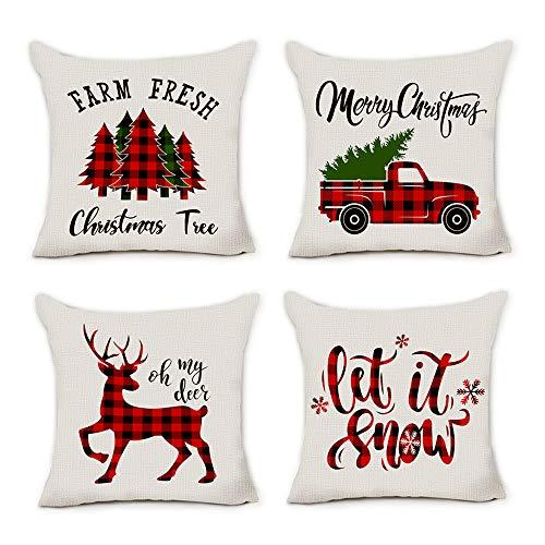 pinata Christmas Pillow Covers 18x18 Farmhouse Buffalo Plaid Christmas Decorations Throw Pillows Cases Set of 4 Winter Holiday Black Red Truck Xmas Tree Seasonal Home Outdoor Decor Cushion Covers