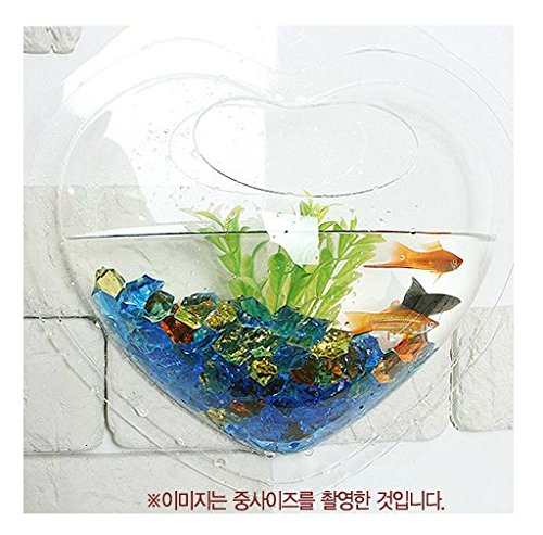 KAZE HOME Wall Mount Fishbowl, Heart