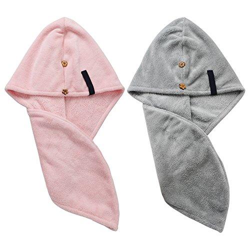 Haartrockentuch Turban Handtuch, Segbeauty 2stücke Mikrofaser Handtuch Lange Haare Wrap Bade Spa Duschhaube Handtuch Saugfähigen Haar Schnelltrocknende Hüte mit Knopf