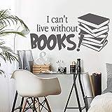 yaonuli Ich kann Nicht Leben ohne Bücher Wohnzimmer Wandaufkleber Dekoration Vinyl Aufkleber...