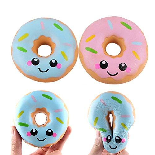 TOYMYTOY 2pcs apretón de juguetes lindo Donuts Lento aumento apretando juguetes Stress Relieve para niños adultos (azul y rosa)