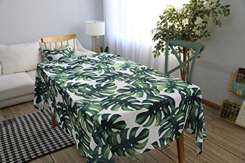 Drizzle Mantel para Mesa de Cocina o Salón Monstera Plantas Verdes Hojas de Palma Rectangular Impermeable Lavable Diseño de Comedor Decoración del Hogar (23 * 23in/60 * 60cm)