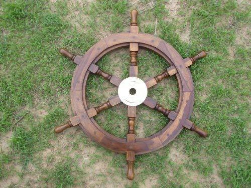 15–Jouet en Bois-Bateau-Bateau pirate nautique roue