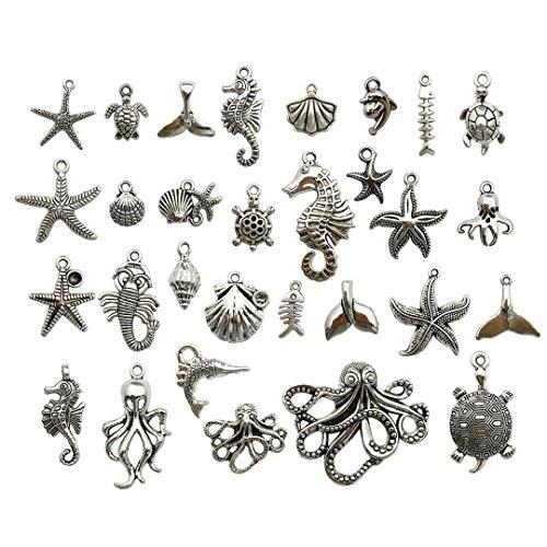Youdiyla 58 PCS Beach Charms Collection - Mixed Starfish Seashells Conch Sea Horse Octopus Mermaid Dolphin Metal Alloy Pendants (Silver HM72)