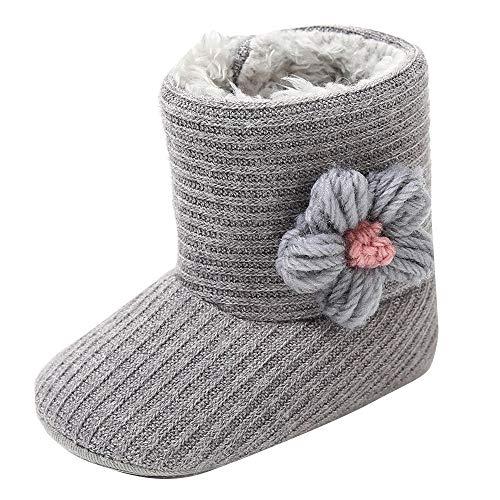 Bebe Niña Botas de Invierno Fossen Recién Nacido Zapatos con Flor de Tejer Algodón Antideslizante Suela Suave Primeros Pasos (6-12 meses, Gris)