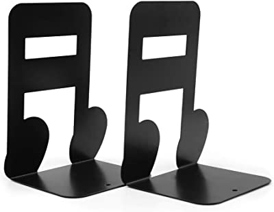Garkup Bookends-Heavy Duty Metal Black Book Ends,Bookend for Shelves (2)