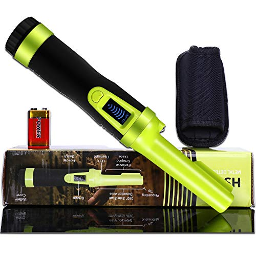 LCD Display Pinpoint Metal Detector Pinpointer - Fully Waterproof to 8-20 feet with Fluorescent Color Include a 9V Battery 360°Search Treasure Pinpointing Finder Probe with Holster for Adults Kids