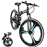 BRADEM 26 inch 21 Speed High Carbon Steel Folding Mountain Bike, Full Suspension MTB Bicycle for Adult, Double Disc Brake Outroad Mountain Bicycles (Black-3 Spoke)