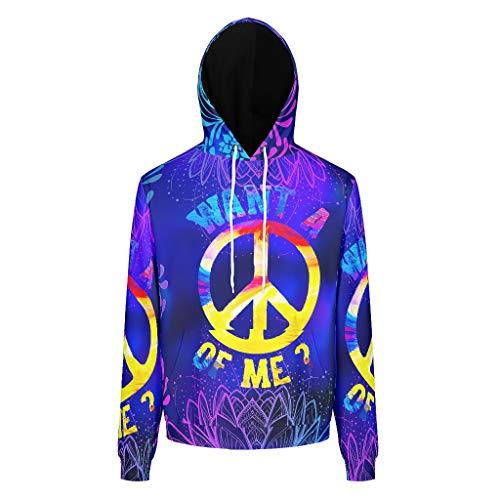 RQPPY Herren Oversized Sweatshirts Hoodies Peace & Love Longsleeve Langarm Kapuzenpullover Sweatjacke Für Mädchen White l