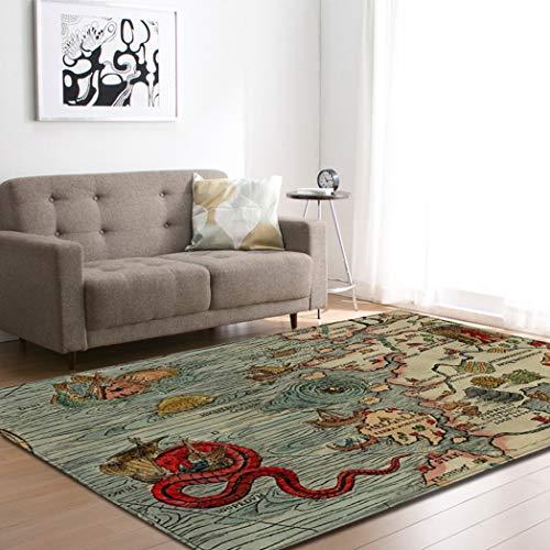 Grote tapijten voor woonkamer, eetkamer, slaapkamer, antislip, voor binnen en buiten, vintage, tapijten, decoratie voor thuis, abstracte draak en boten 180 × 120 cm