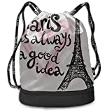 OKIJH Sac à dos Sac à dos de loisirs Sac à cordon Sac à dos multifonctionnel Sac de sport Cute Backpack France Hand Drawn Romantic Eiffel Tower Gym Drawstring Bags Backpack Sports String Bundle Backpa